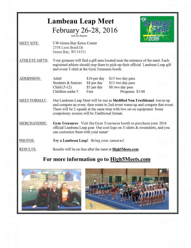Parent Info 2016 lambeau meet